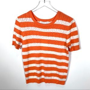 Endless Rose striped knit top orange small
